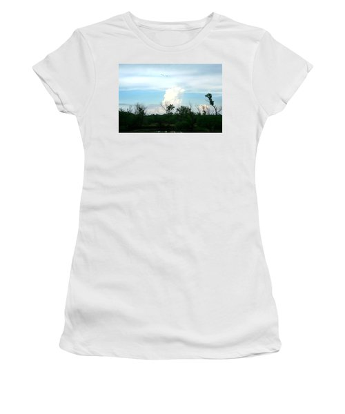 Women's T-Shirt (Junior Cut) featuring the photograph The Back Forty by Lon Casler Bixby