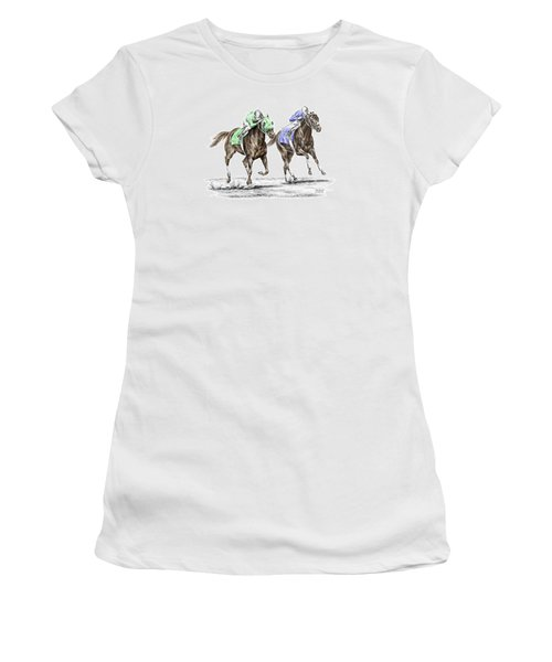 The Stretch - Tb Horse Racing Print Color Tinted Women's T-Shirt (Athletic Fit)
