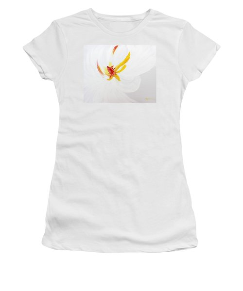 Women's T-Shirt (Junior Cut) featuring the painting White Flower by Kume Bryant