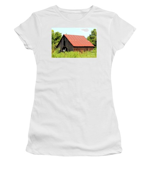 Women's T-Shirt (Junior Cut) featuring the photograph White Horse Waiting by Kathy  White