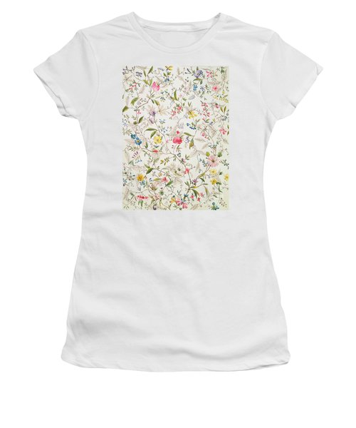 Wild Flowers Design For Silk Material Women's T-Shirt