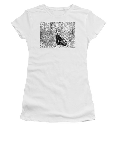 Wild Turkey In Black And White Women's T-Shirt (Athletic Fit)