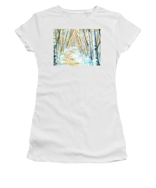 Women's T-Shirt (Junior Cut) featuring the painting Winter by Shana Rowe Jackson