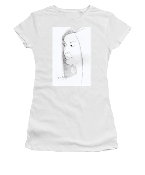 Woman In Black And White Long Hair Red Lips And Shoulders  Women's T-Shirt (Junior Cut) by Rachel Hershkovitz