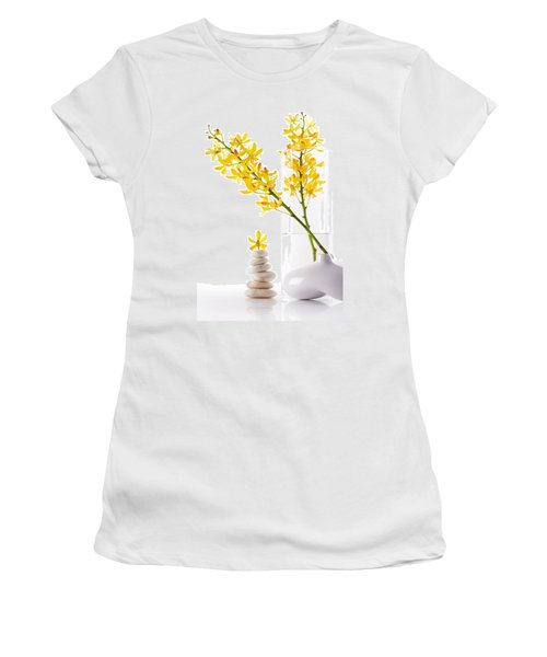 Yellow Orchid Bunchs Women's T-Shirt (Junior Cut) by Atiketta Sangasaeng