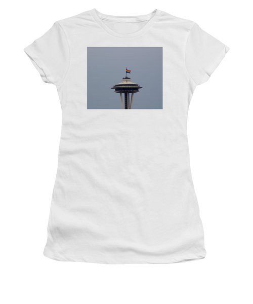 Celebrates Gay Pride  Women's T-Shirt (Athletic Fit)