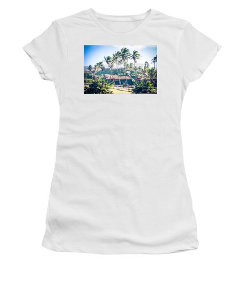 Women's T-Shirt (Athletic Fit) featuring the photograph  Lanakila 'ihi'ihi O Iehowa O Na Kaua Church Keanae Maui Hawaii by Sharon Mau