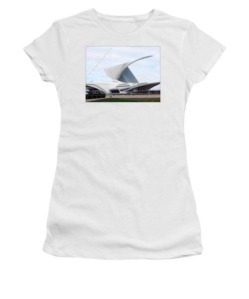 Women's T-Shirt (Junior Cut) featuring the photograph  Milwaukee Art Museum by Kay Novy