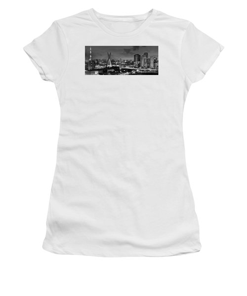 Sao Paulo Iconic Skyline - Cable-stayed Bridge - Ponte Estaiada Women's T-Shirt (Athletic Fit)