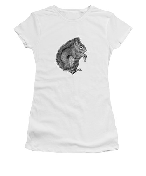 Women's T-Shirt (Junior Cut) featuring the drawing 058 Sweeney The Squirrel by Abbey Noelle