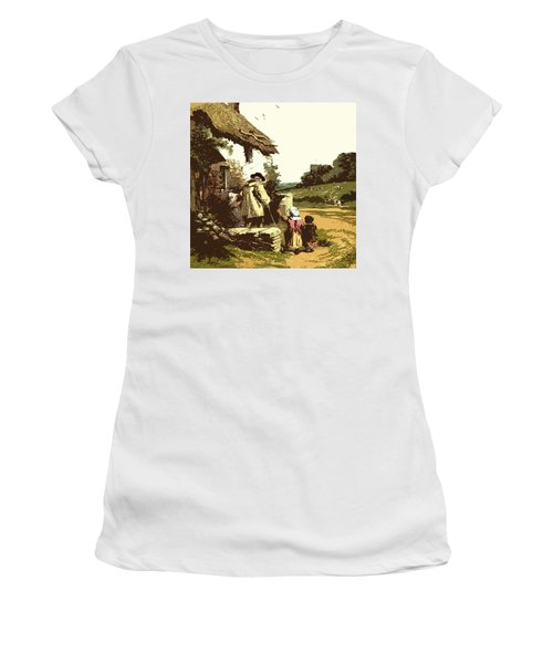 Women's T-Shirt (Junior Cut) featuring the drawing A Walk With The Grand Kids by Digital Art Cafe