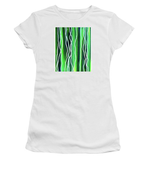 Abstract Lines On Green Women's T-Shirt (Junior Cut) by Irina Sztukowski