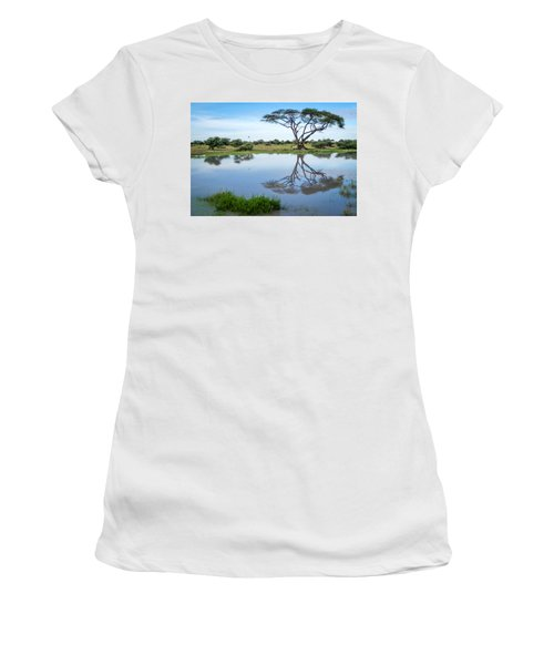 Acacia Tree Reflection Women's T-Shirt (Athletic Fit)