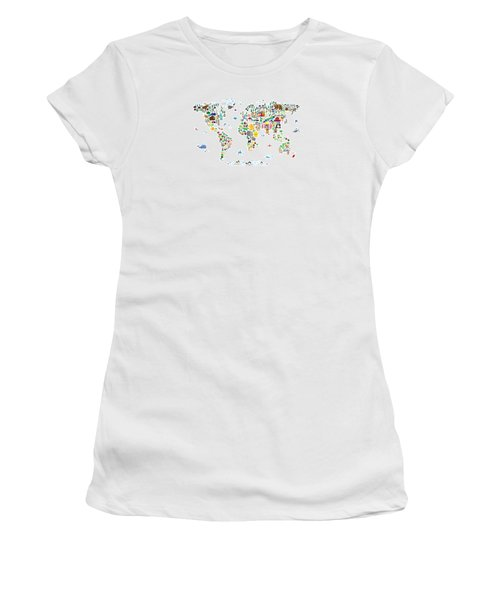 Animal Map Of The World For Children And Kids Women's T-Shirt (Junior Cut) by Michael Tompsett