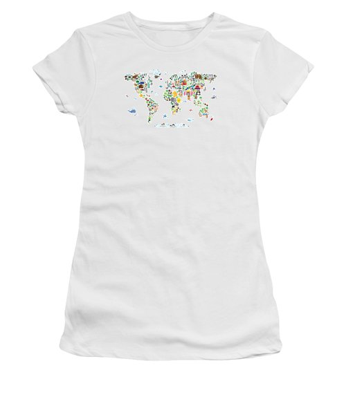 Animal Map Of The World For Children And Kids Women's T-Shirt