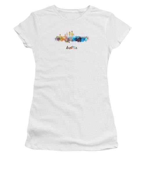Austin Skyline In Watercolor Women's T-Shirt (Junior Cut) by Pablo Romero