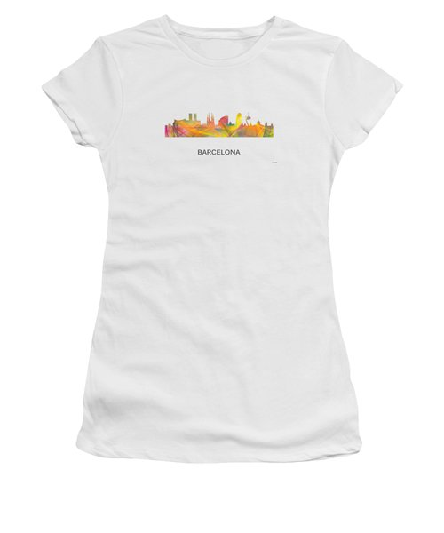 Barcelona Spain Skyline Women's T-Shirt (Athletic Fit)