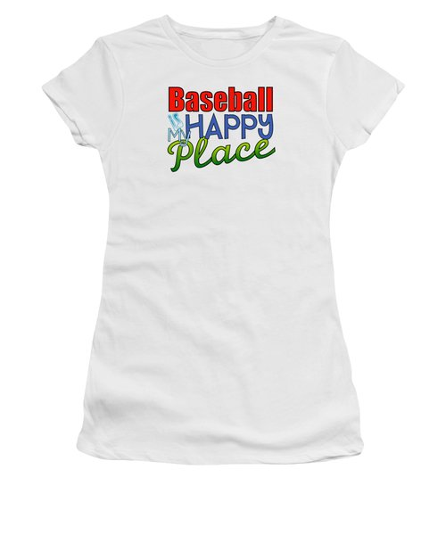 Baseball Is My Happy Place Women's T-Shirt (Junior Cut) by Shelley Overton
