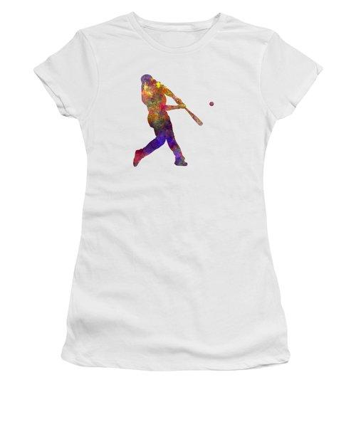 Baseball Player Hitting A Ball Women's T-Shirt (Athletic Fit)