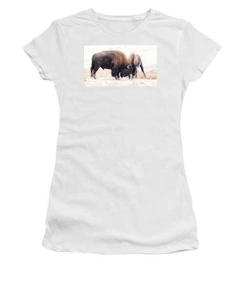 Women's T-Shirt (Junior Cut) featuring the photograph Battle Of The Bison In Rut by Yeates Photography