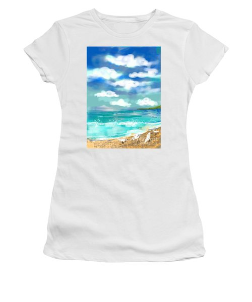 Women's T-Shirt (Junior Cut) featuring the digital art Beach Birds by Elaine Lanoue