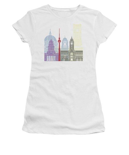 Berlin Skyline Poster Women's T-Shirt (Junior Cut) by Pablo Romero