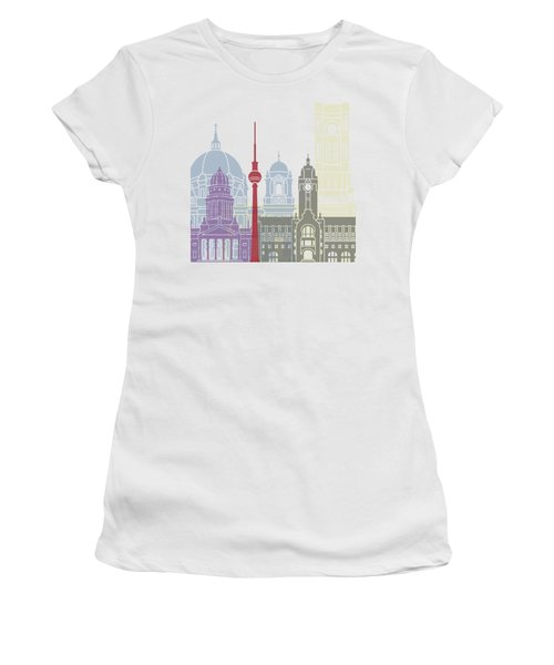 Berlin Skyline Poster Women's T-Shirt (Athletic Fit)