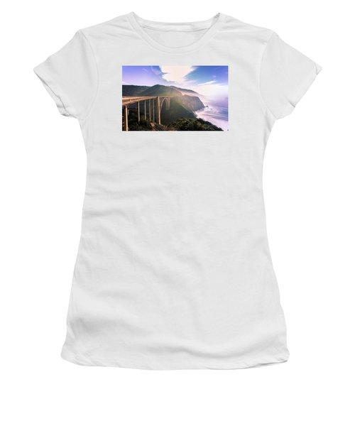 Women's T-Shirt (Athletic Fit) featuring the photograph Bixby Creek Bridge,big Sur by Jingjits Photography