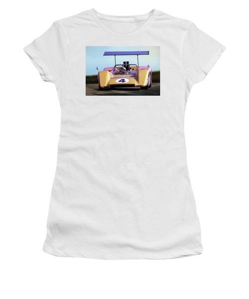 Women's T-Shirt (Junior Cut) featuring the digital art Bruce Mclaren M8b by Peter Chilelli