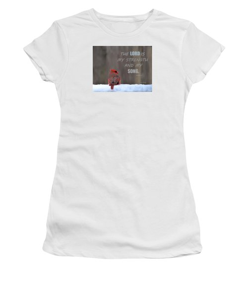 Cardinal In The Snowstorm With Scripture Women's T-Shirt (Junior Cut) by Sandi OReilly