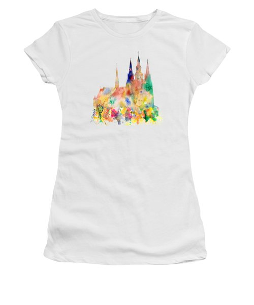 Cathedral Of Saint Vitus In The Prague Castle Watercolor Art Women's T-Shirt (Athletic Fit)