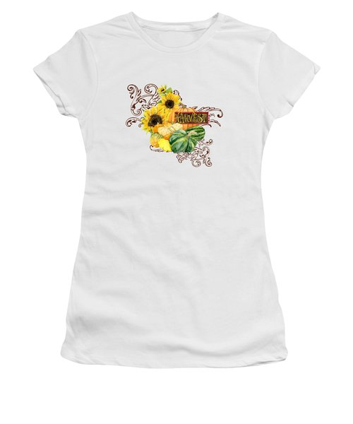 Women's T-Shirt (Junior Cut) featuring the painting Celebrate Abundance - Harvest Fall Pumpkins Squash N Sunflowers by Audrey Jeanne Roberts