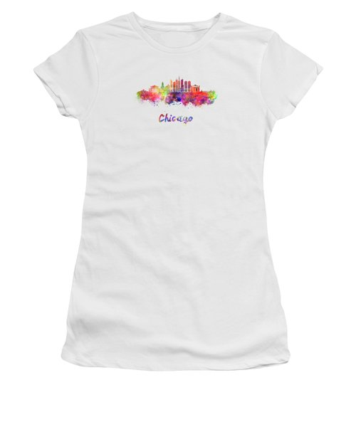 Chicago Skyline In Watercolor Women's T-Shirt (Junior Cut) by Pablo Romero