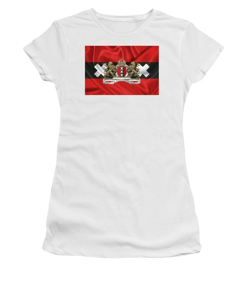 Coat Of Arms Of Amsterdam Over Flag Of Amsterdam Women's T-Shirt (Athletic Fit)