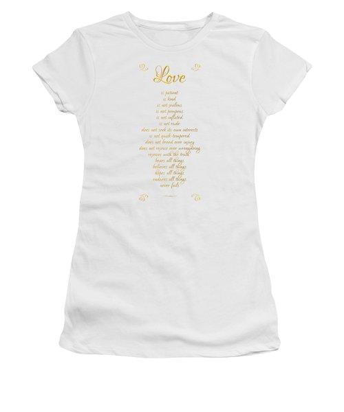 1 Corinthians 13 Love Is White Background Women's T-Shirt (Athletic Fit)