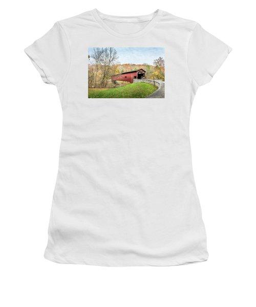 Covered Bridge In Pennsylvania During Autumn Women's T-Shirt