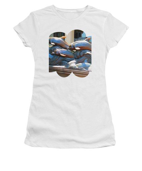 Dolphin Statues Near Boston Aquarium Wonderful Tour Of Finest American   Navinjoshi Fineartamerica Women's T-Shirt