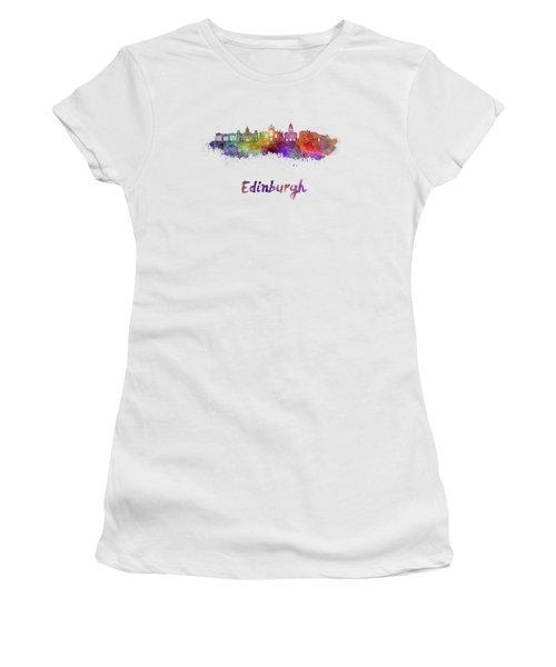 Edinburgh Skyline In Watercolor Women's T-Shirt