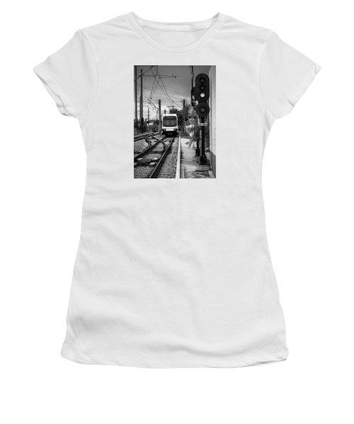 Electric Commuter Train In Bw Women's T-Shirt