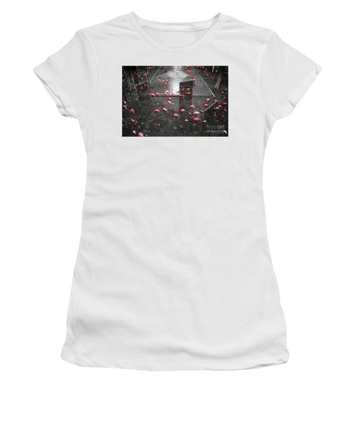 Women's T-Shirt (Junior Cut) featuring the photograph Flamingo by Setsiri Silapasuwanchai