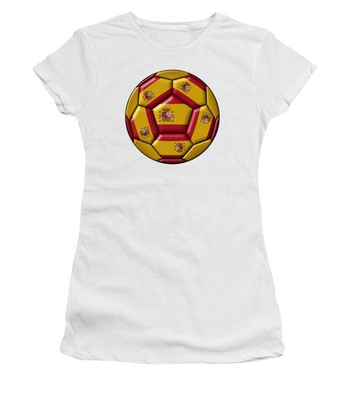 Football Ball With Spanish Flag Women's T-Shirt