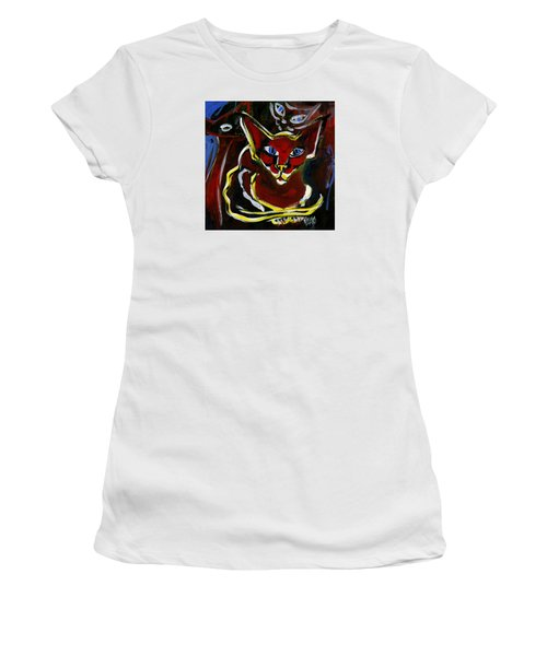 Women's T-Shirt (Junior Cut) featuring the painting Foreign White Cat by Leanne WILKES