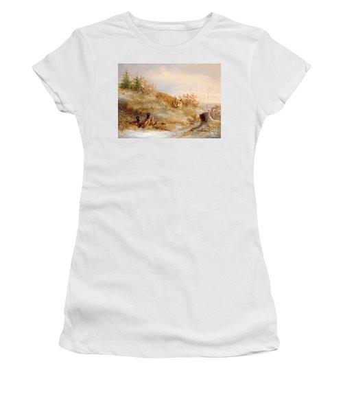 Fox And Pheasants In Winter Women's T-Shirt (Athletic Fit)