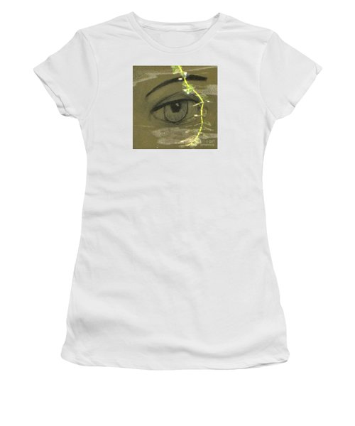 Women's T-Shirt (Junior Cut) featuring the mixed media Green Eyes by Yury Bashkin