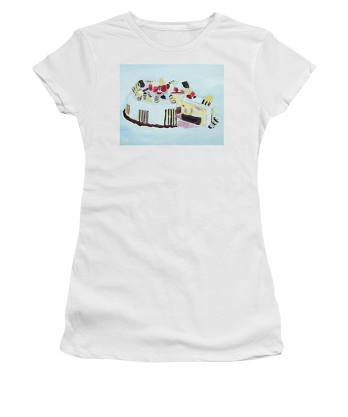 Ice Cream Cake Oil On Canvas Women's T-Shirt (Athletic Fit)
