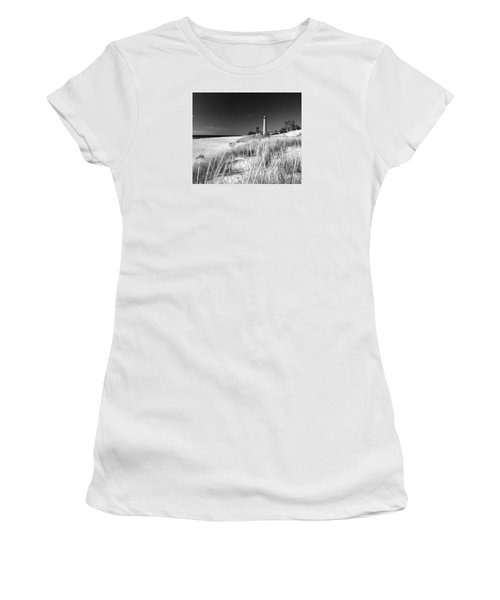 Women's T-Shirt (Junior Cut) featuring the photograph Little Sable Light Station - Film Scan by Larry Carr
