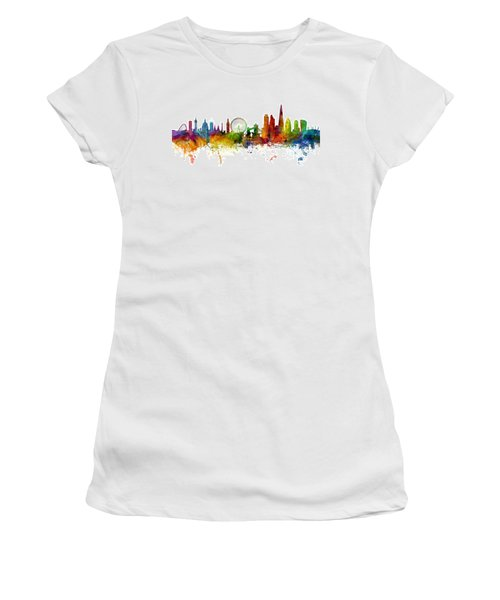 London England Skyline Panoramic Women's T-Shirt (Junior Cut) by Michael Tompsett