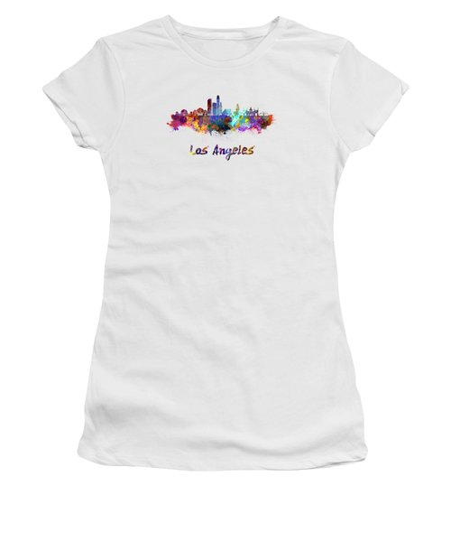 Los Angeles Skyline In Watercolor Women's T-Shirt (Junior Cut) by Pablo Romero