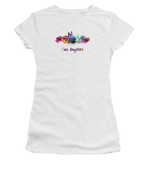 Los Angeles Skyline In Watercolor Women's T-Shirt