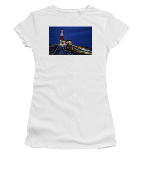 Women's T-Shirt (Junior Cut) featuring the photograph Montauk Point Lighthouse by Susan Candelario
